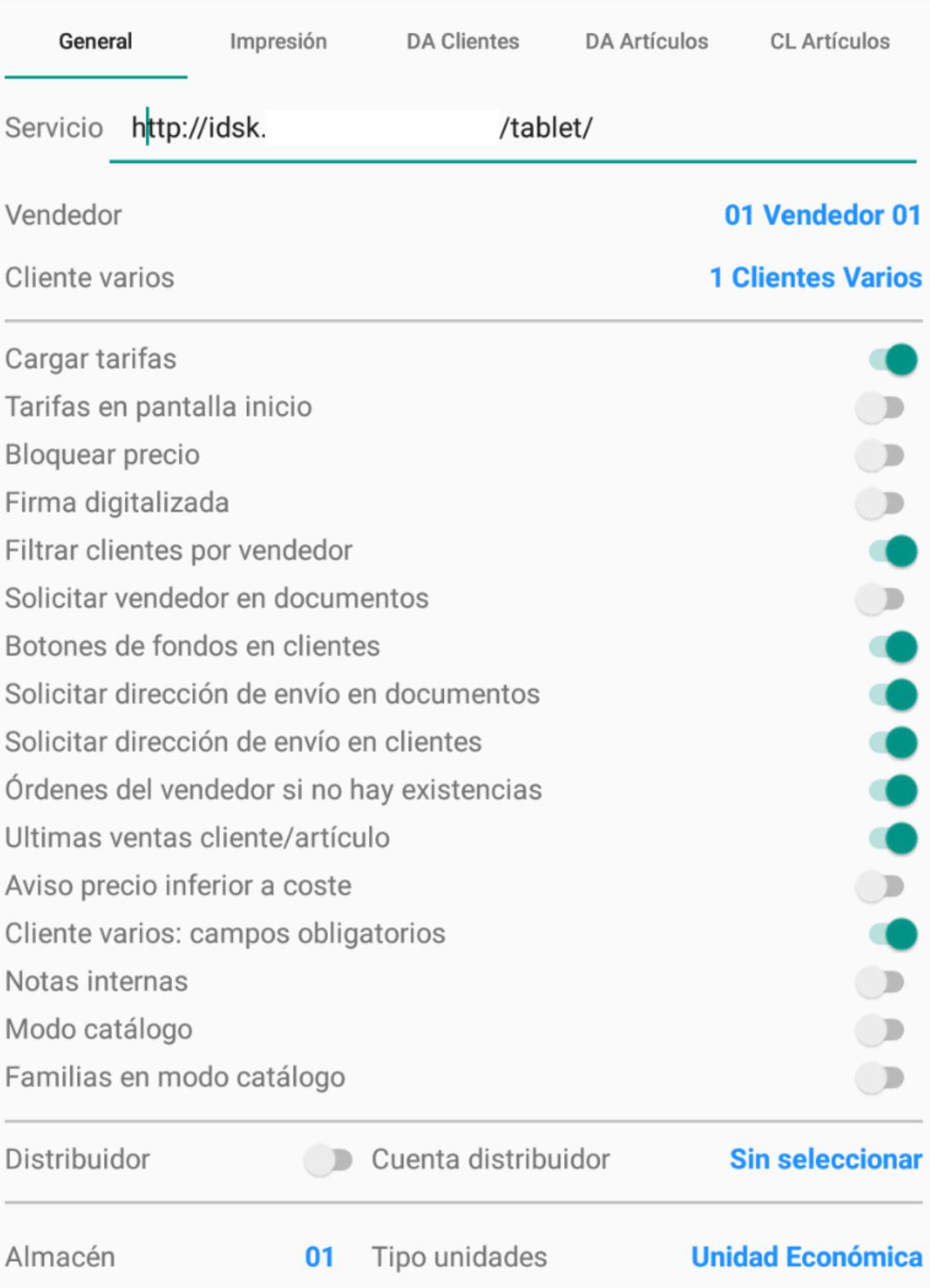 Parámetros DSK Tablet